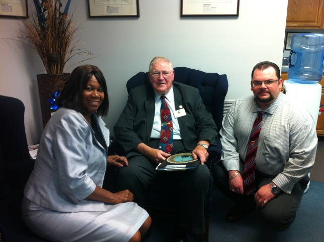 Elizabeth Charity, County Supervisor John Jenkins and James Doran (from l to r)