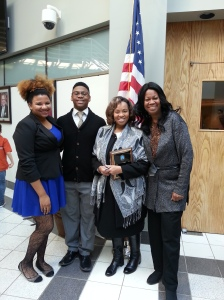 Cynthia Brown (in the middle) Carmen Wilson and David Horden III, Liz Charity